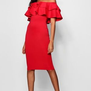 Red Ruffle Strapless Midi Dress